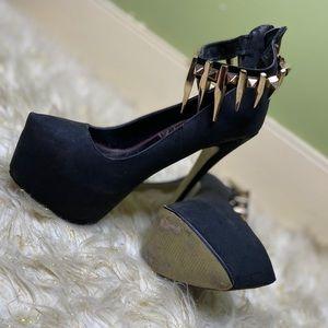 Black Platform Heels w Gold Spike Ankle Strap 8.5